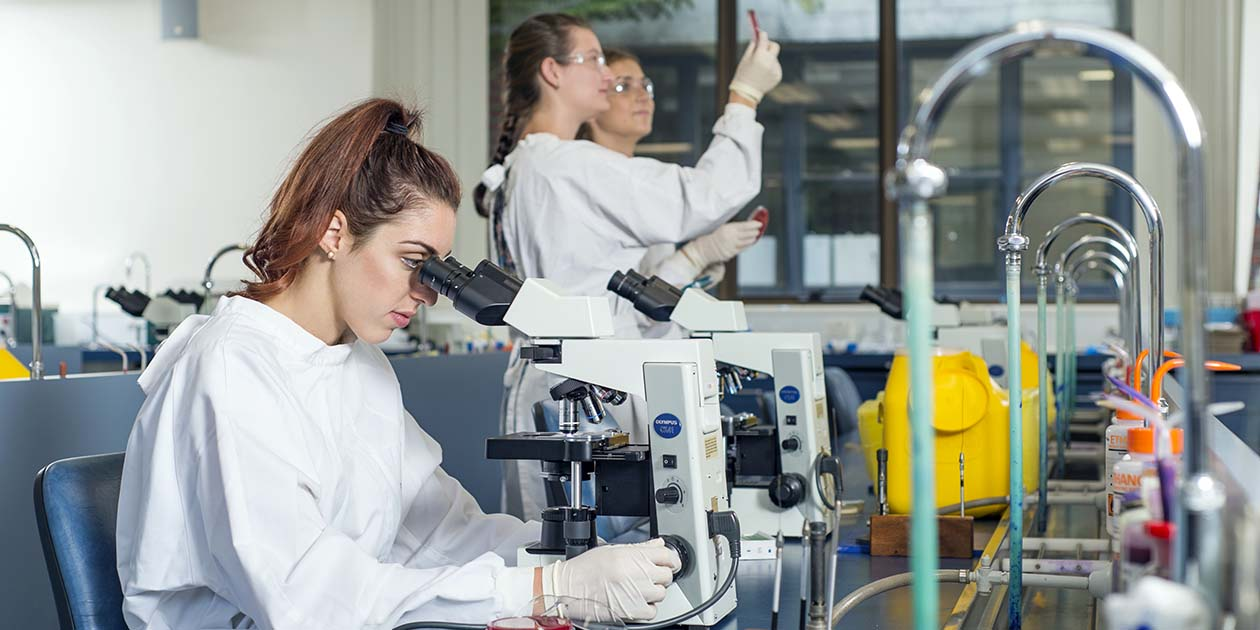 Health Sciences student, female, looking through microscope