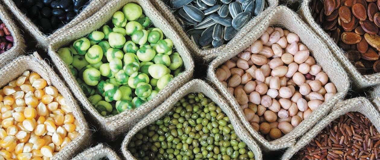 Grains in baskets
