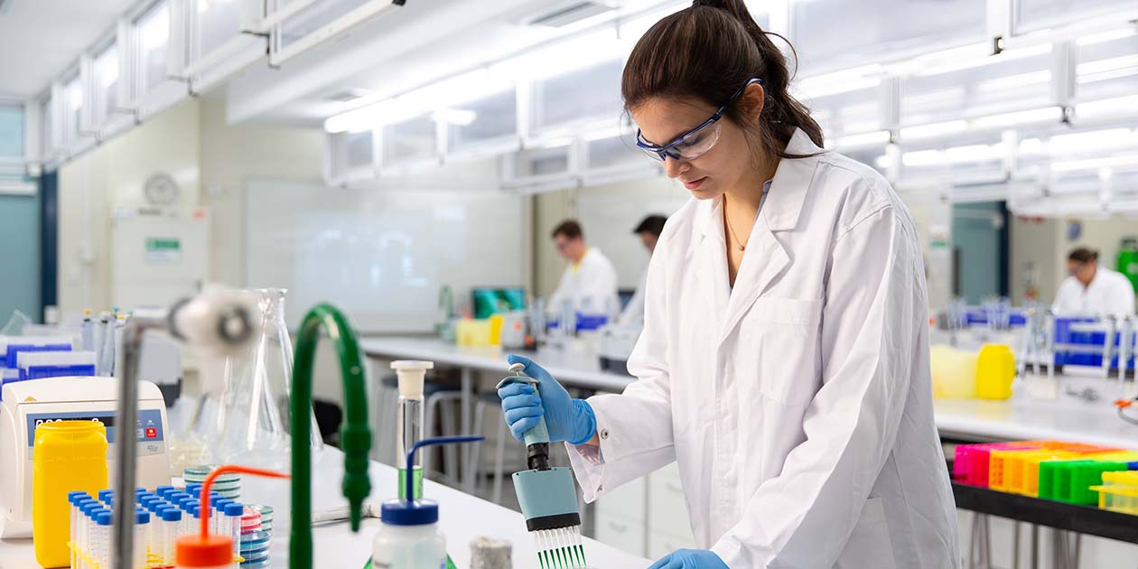 Female student in lab