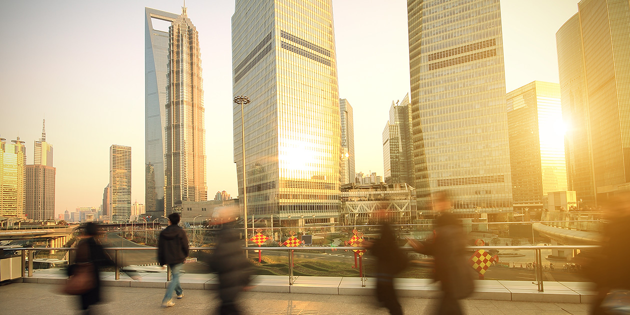 Pedestrians in a busy city street