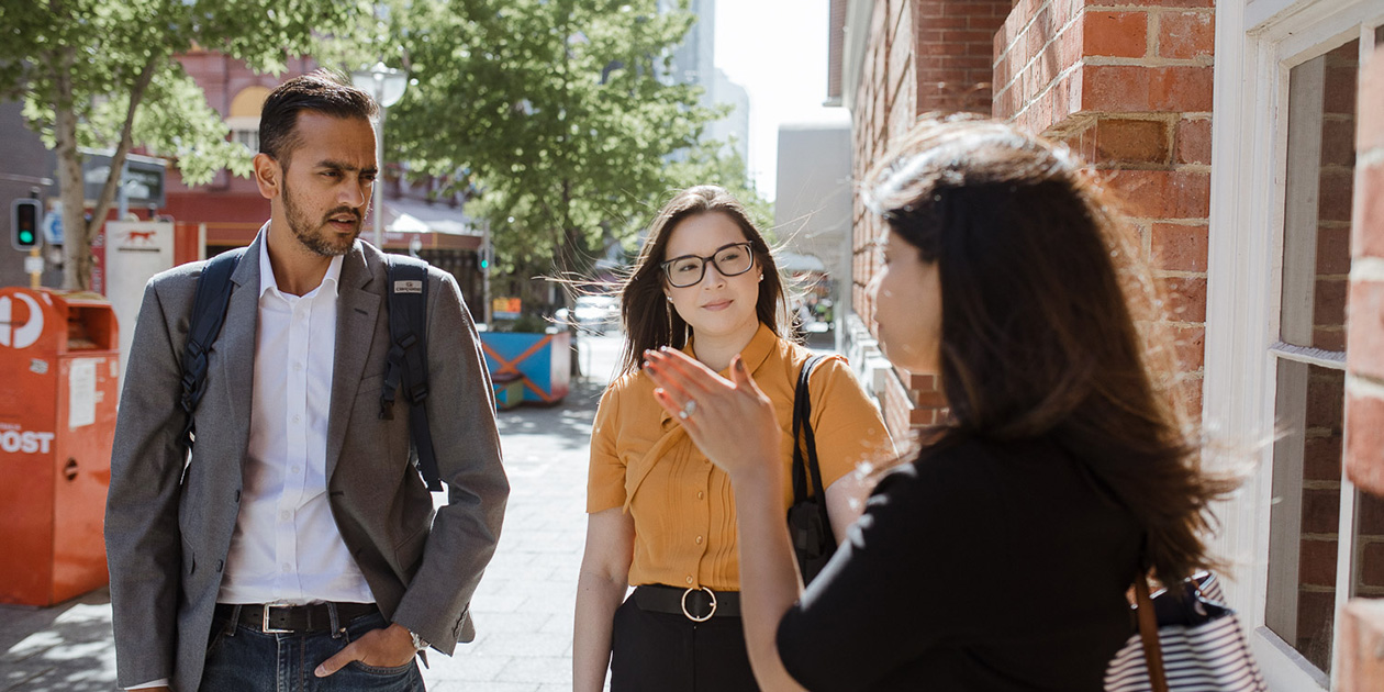 MBA students talking outside CGSB